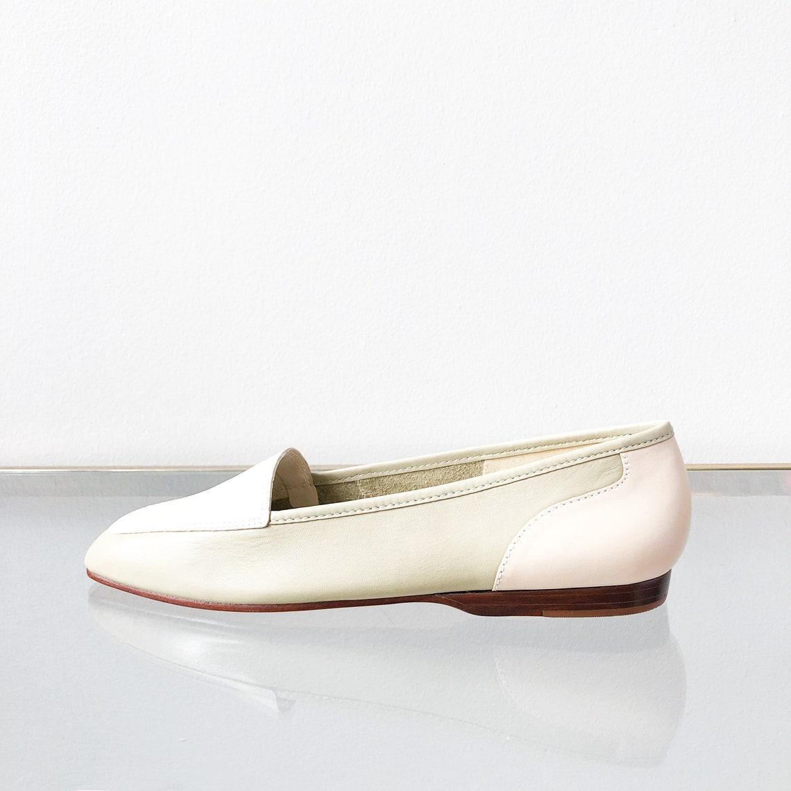 90's Sage Cream Leather Flats / Square Toe Size 9 - Big Sale dPXxR