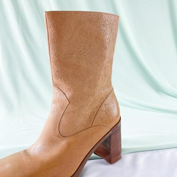 90's Tommy Hilfiger Tan Square Toe Midi Boots / B… - image 6