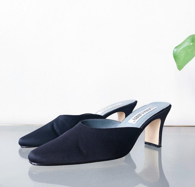 11b5adf0dbbe6 90's Black Satin Mule / Slip On Heel / Size 9 M