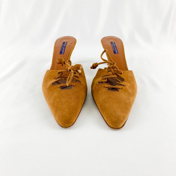 90's Camel Suede Lace Up Mules / Heels / Size 9 - image 6
