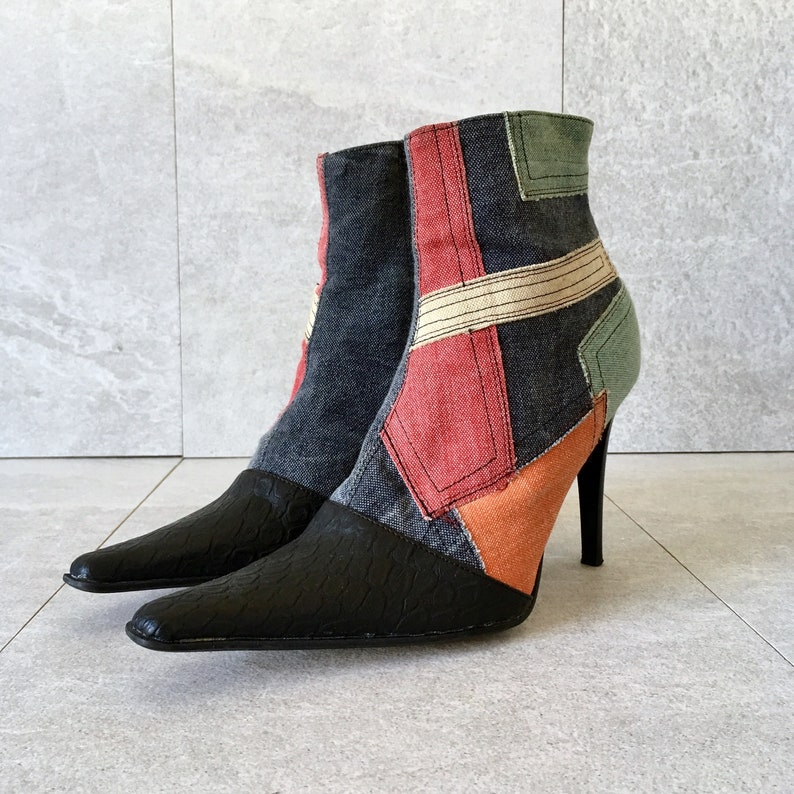 c5369a479ee 90 s Patchwork Denim Leather Ankle Boots   Vintage High