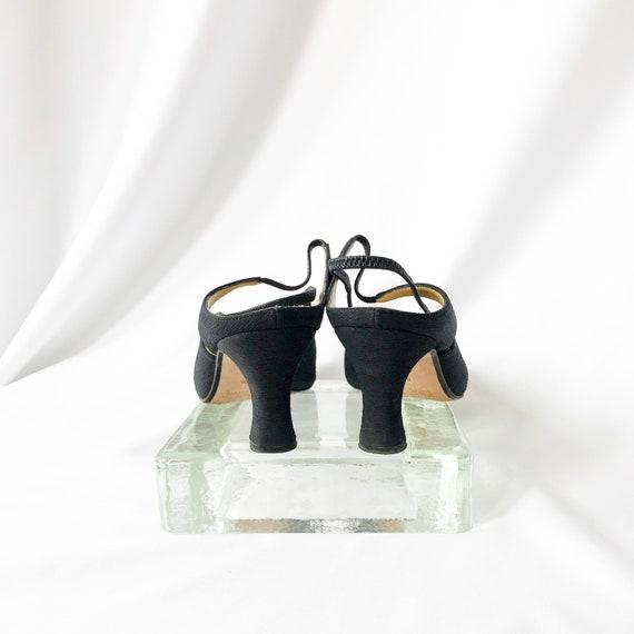 90's Black Slingback Mary Jane Mules / Heels / Si… - image 8