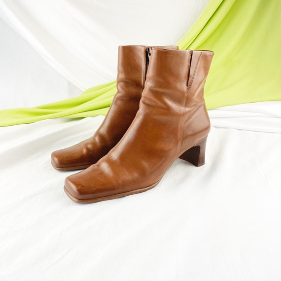90's Cognac Leather Square Toe Ankle Boots / Size… - image 3