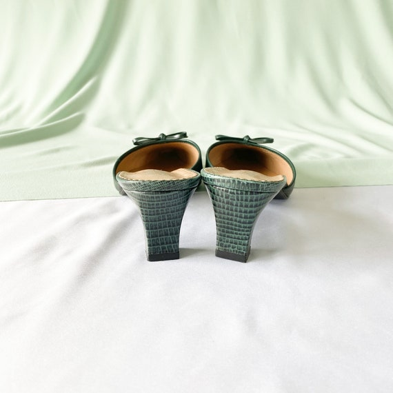 90's Green Crocodile Snakeskin Mules / Pointed To… - image 6
