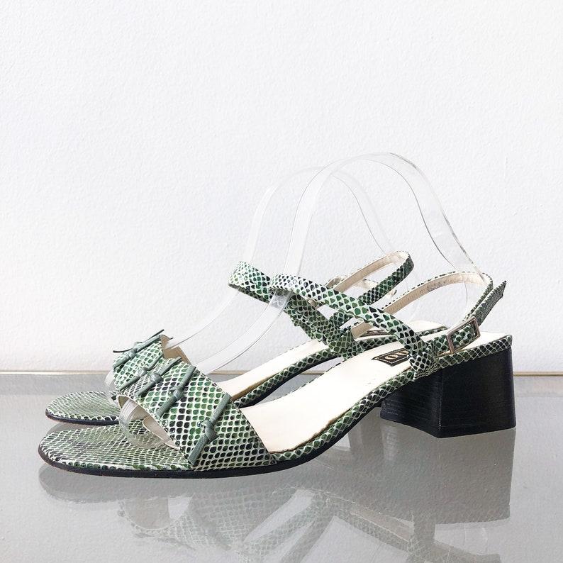 7e217982708e0 90's Green Snakeskin Mary Jane Sandals / Block Heel / Size 10.5