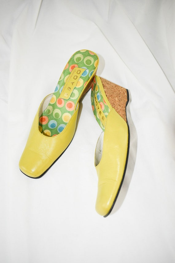 Vintage Chartreuse Green Wedge Mules / Size 7 - image 5