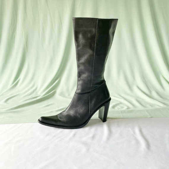 90's Black Leather Tall Western Style Boots / Bloc