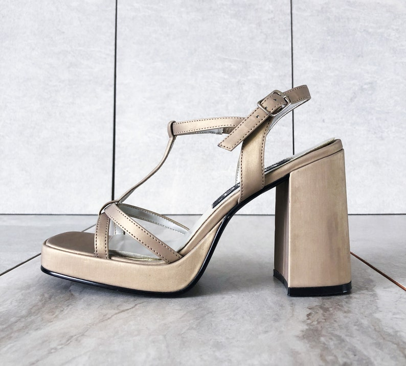 3e2a1413e012e 90's Vegan Champagne Gold Mary Jane / Strappy Sandal / Chunky Block Heel /  Size 7.5