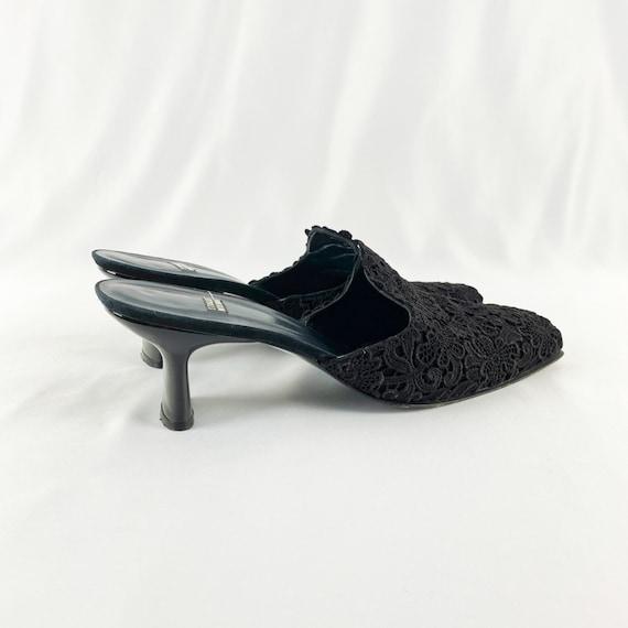 90's Stuart Weitzman Black Lace Square Toe Mules … - image 2