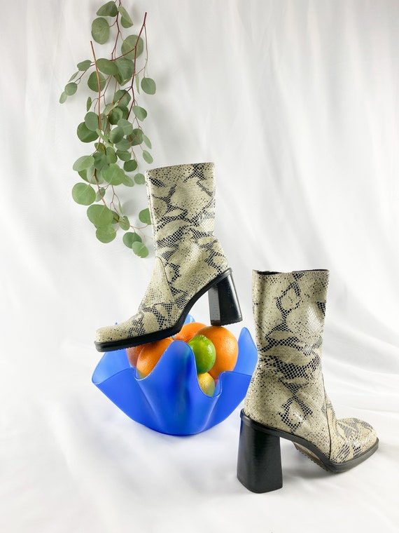 90's Cream Snakeskin Square Toe Midi Boots / Block