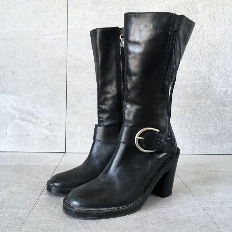 90/'s Donald Pliner Black Leather Tall Boot  Vintage Block Heel Boot  Buckle Strap  Size 6 M