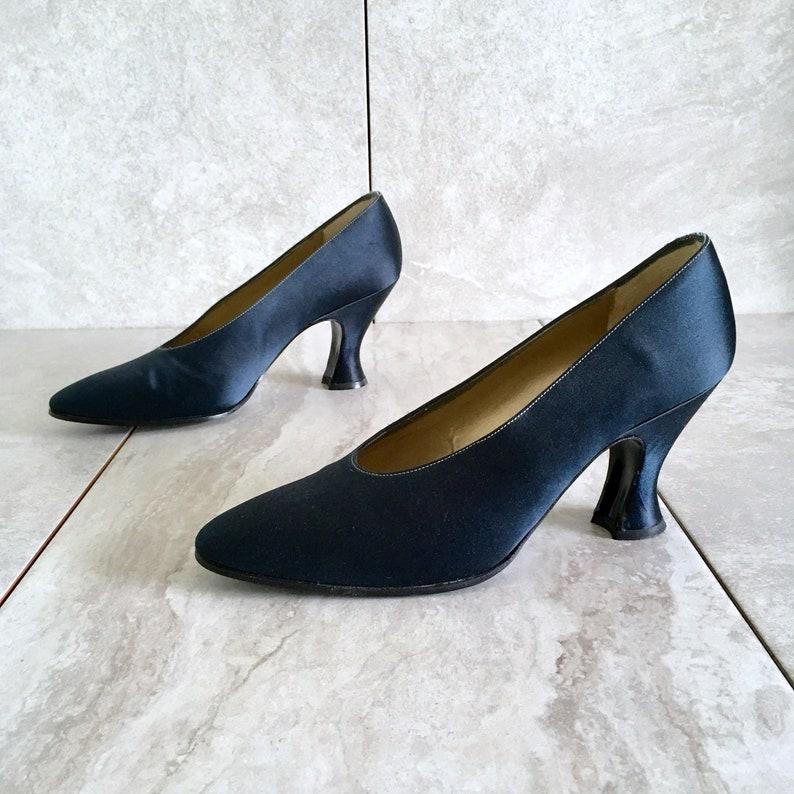 c1ff2e468 Vintage Yves Saint Laurent YSL Blue Silk Satin Pumps / 80s | Etsy