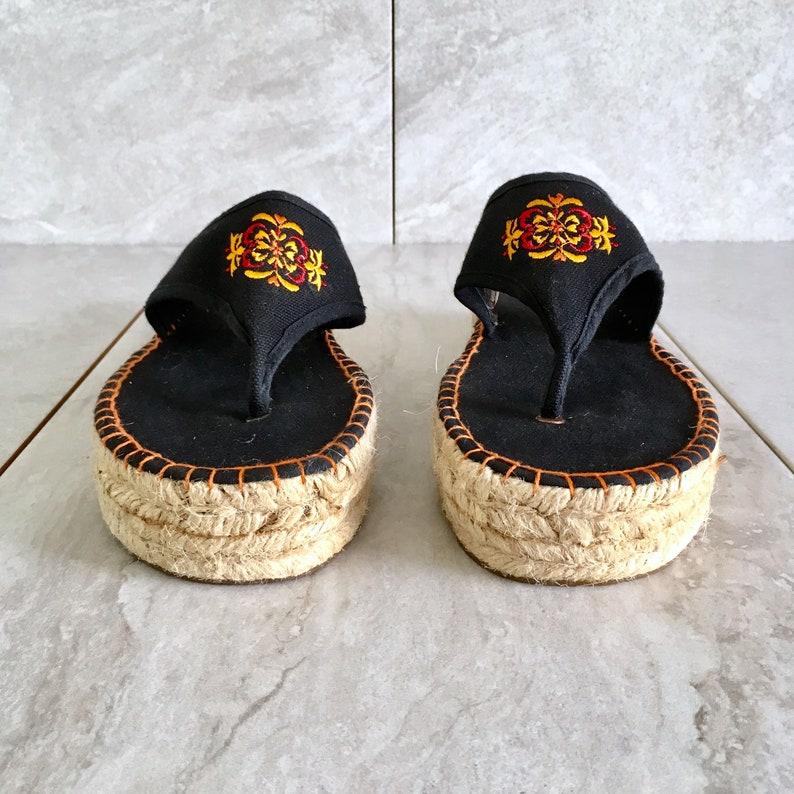 add6af980ec 90 s Black Platform Espadrille Sandal   Vintage Thong