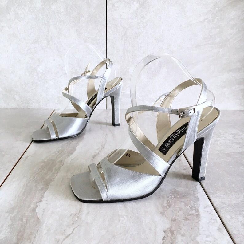 e629f19b7d999 CLEARANCE 90's Kenneth Cole Silver Metallic Strappy Sandal / Vintage Heel /  Women's 8.5