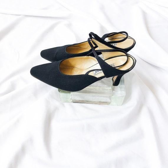90's Black Slingback Mary Jane Mules / Heels / Si… - image 3