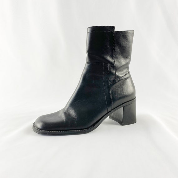 90's Square Toe Black Leather Ankle Boots / Block