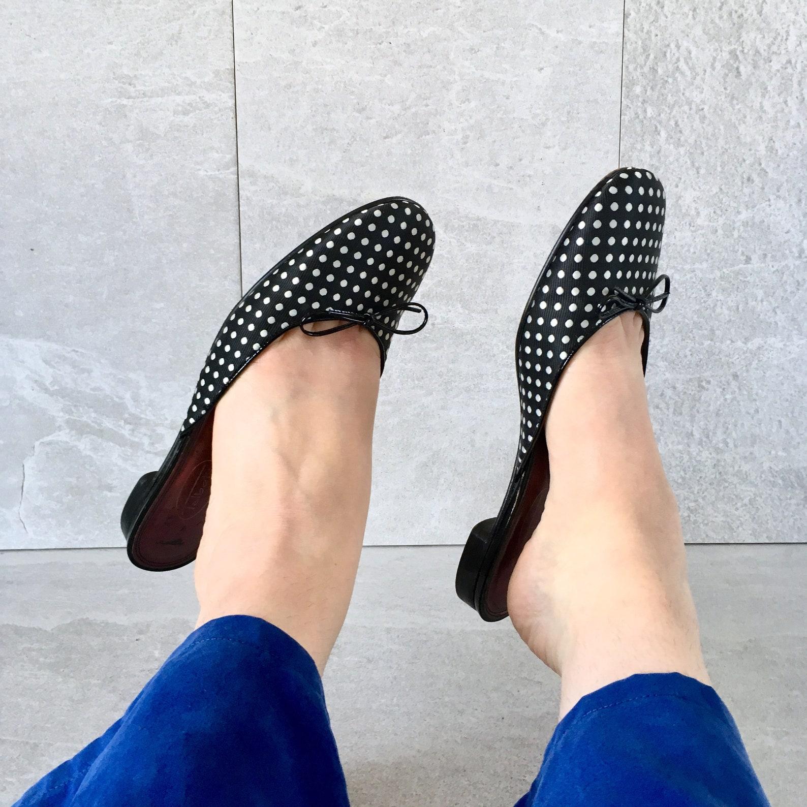 90's polka dot mule / vintage slip on flat / ballet flat / size 8.5m