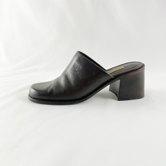 90's Espresso Leather Square Toe Mules / Block Hee