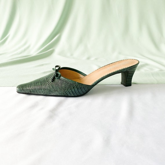 90's Green Crocodile Snakeskin Mules / Pointed To… - image 7