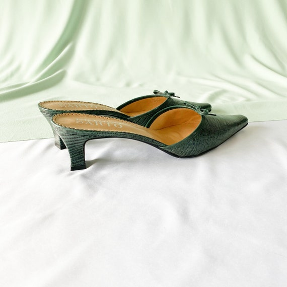 90's Green Crocodile Snakeskin Mules / Pointed To… - image 5