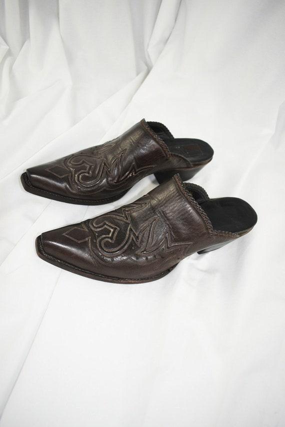 Vintage Chocolate Western Mules / Block Heels / Si
