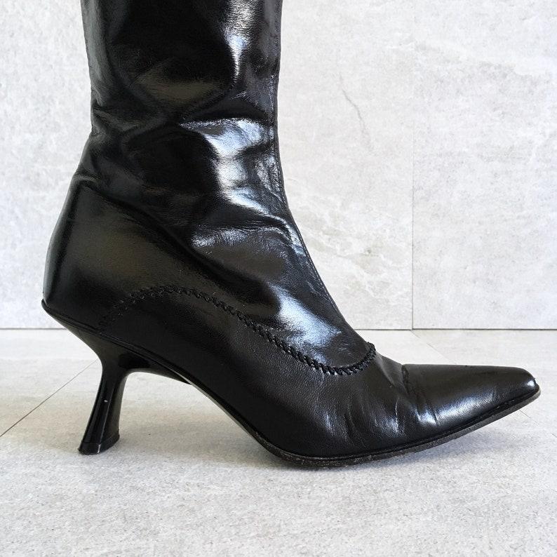 4e165fa9c17 90 s Black Leather Tall Zip Up Boot   L autre Chose