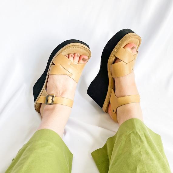 90's Mary Jane Platform Wedge Chunky Sandals / Siz