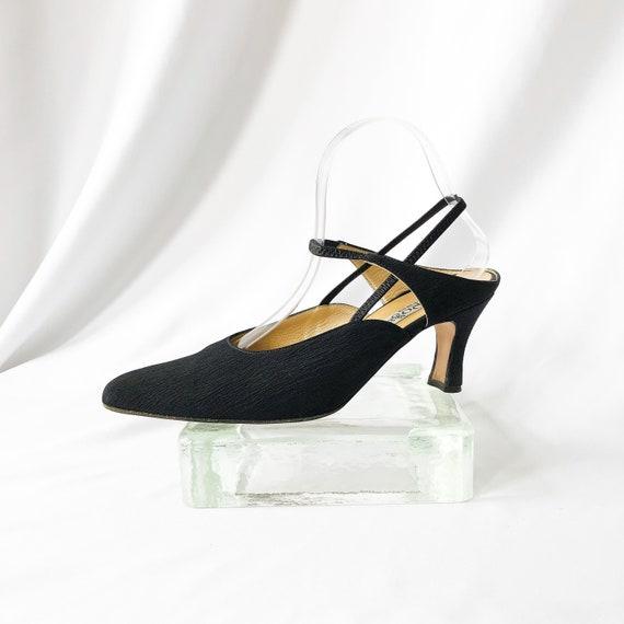 90's Black Slingback Mary Jane Mules / Heels / Si… - image 2