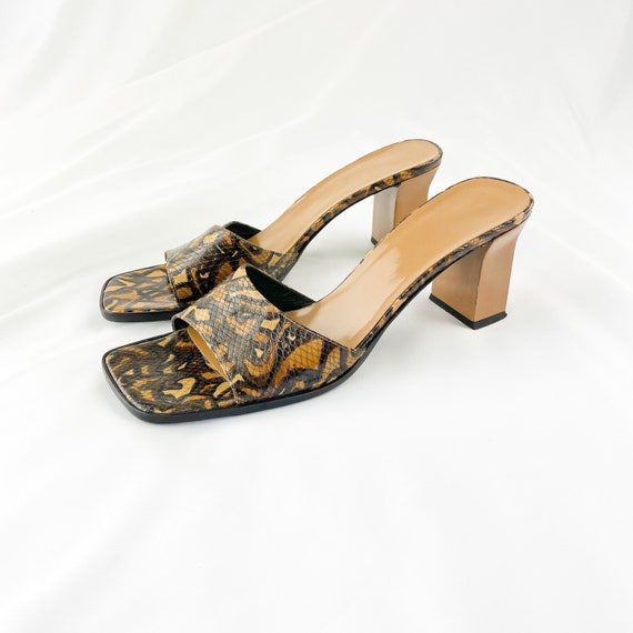 90's Tan Snakeskin Square Toe Sandals / Mules / Si