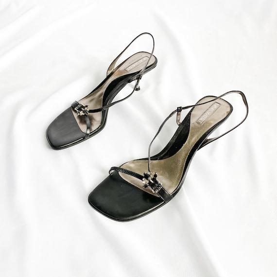 90's Black Leather Slingback Strappy Sandals / Kit