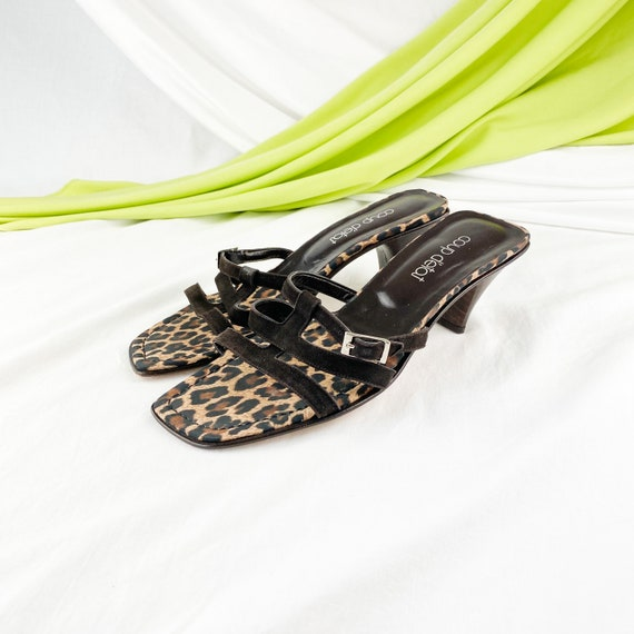 90's Leopard Suede Square Toe Mules Sandals / Size