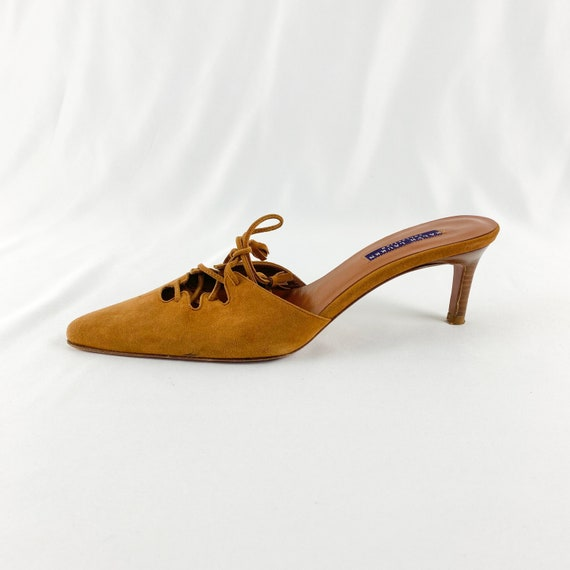 90's Camel Suede Lace Up Mules / Heels / Size 9 - image 9