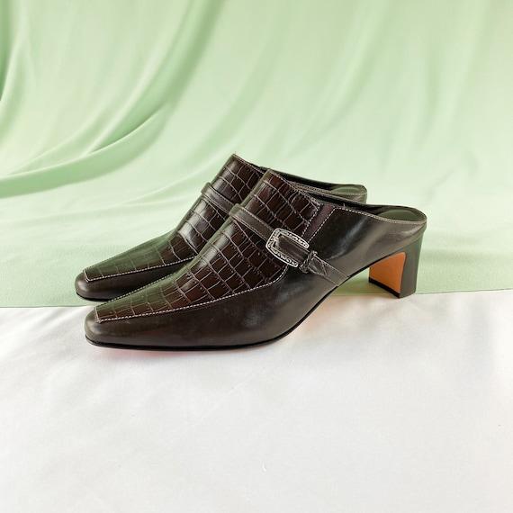 90's Crocodile Mules / Slip On Heels / Size 7 - image 1