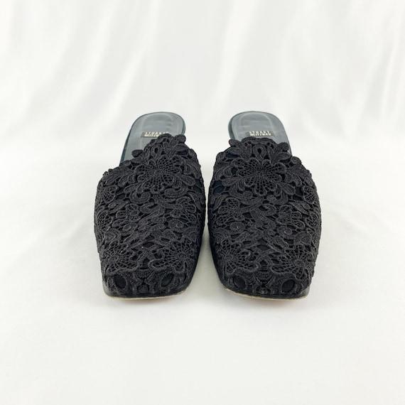 90's Stuart Weitzman Black Lace Square Toe Mules … - image 4