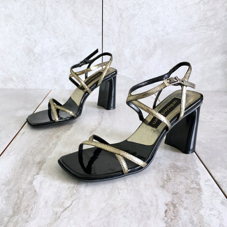 c50c6cafce03c CLEARANCE 90's Gold Black Metallic Strappy Sandal / Vintage Ankle Strap  Heel / Women's 6.5M