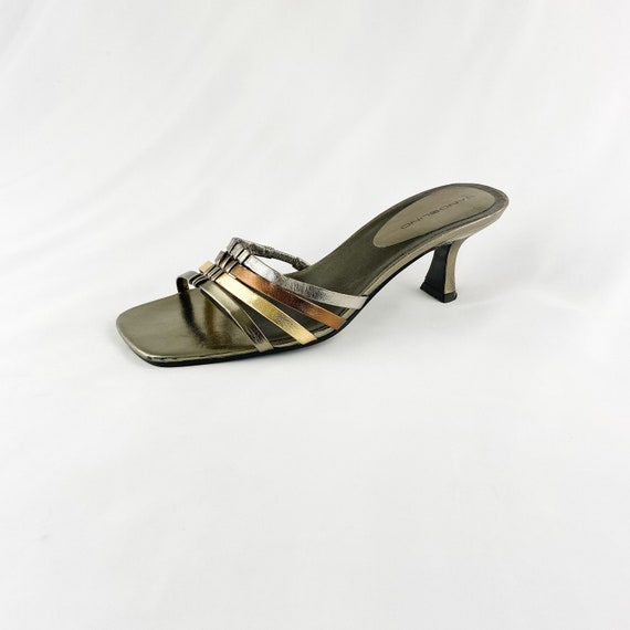 90's Gold Silver Metallic Square Toe Slide Sandals