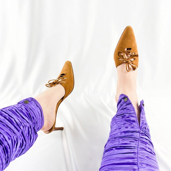 90's Camel Suede Lace Up Mules / Heels / Size 9 - image 3
