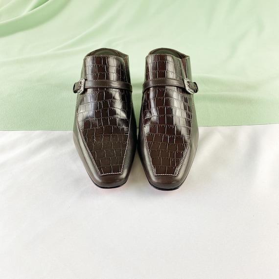 90's Crocodile Mules / Slip On Heels / Size 7 - image 2