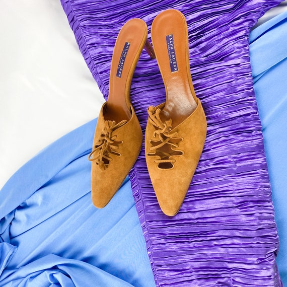 90's Camel Suede Lace Up Mules / Heels / Size 9 - image 5
