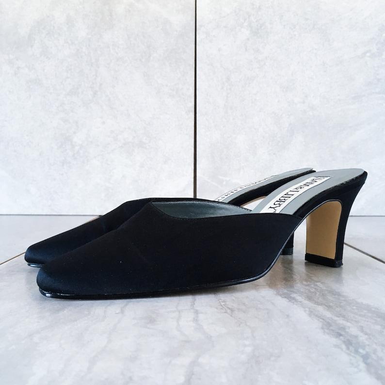 2386b74b76038 90's Black Satin Mule / Slip On Heel / Size 6.5 M