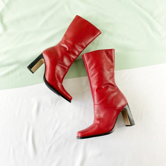 90's Red Leather Square Toe Midi Boots / Size 7.5