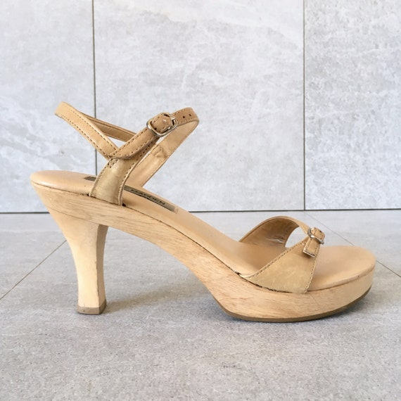 b5e831a9ae399 CLEARANCE 90's Steve Madden Tan Leather Platform Sandal / Vintage Mary Jane  / Strappy Sandal / Size 6.5-7