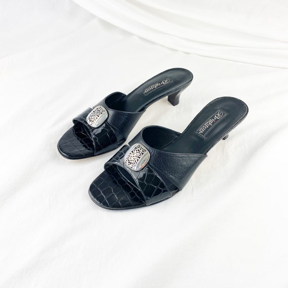 90's Black Crocodile Slide Sandals / Mules / Size… - image 3