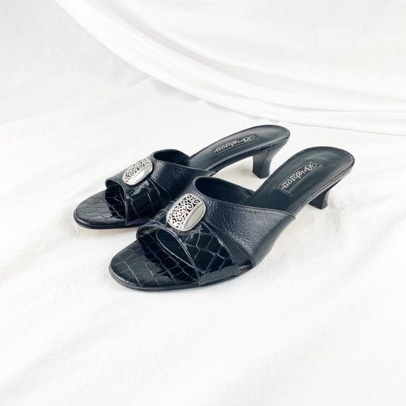 90's Black Crocodile Slide Sandals / Mules / Size… - image 2