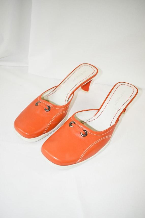 90's Orange Square Toe Mules / Sporty Heels / Siz… - image 4