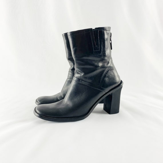 90's Black Leather Square Toe Midi Ankle Boots / S