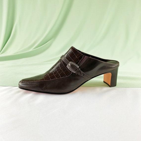 90's Crocodile Mules / Slip On Heels / Size 7 - image 4