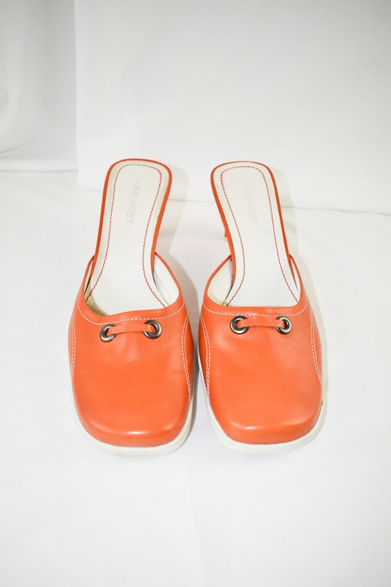 90's Orange Square Toe Mules / Sporty Heels / Siz… - image 6