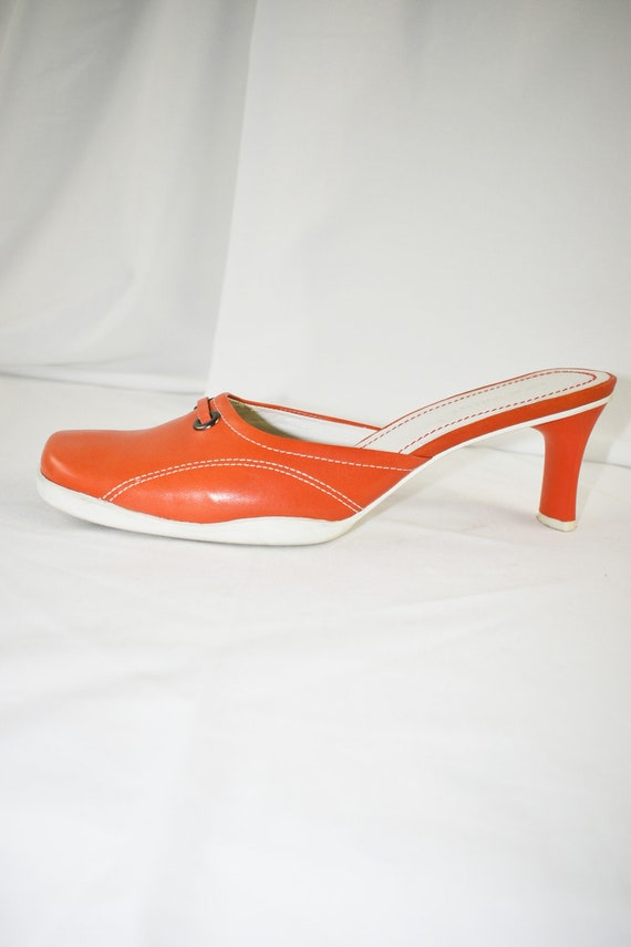90's Orange Square Toe Mules / Sporty Heels / Siz… - image 9