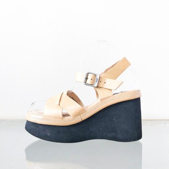 90's Tan Platform Mary Jane Sandal / Wedge Sandal